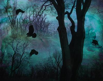 Gothicrow Photograph - Blue Forest Blackbirds Dance by Gothicrow Images