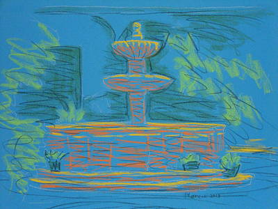 Pastel - Blue Fountain by Marcia Meade