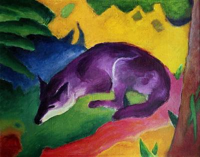 Franz Marc Painting - Blue Fox by Franz Marc