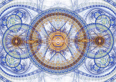 Blue Fractal Inception  Art Print by Martin Capek