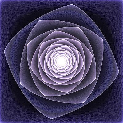 Blue Fractal Rose Print by Steve K
