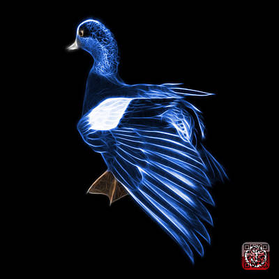Mixed Media - Blue Fractal Wigeon 7702 - Bb by James Ahn