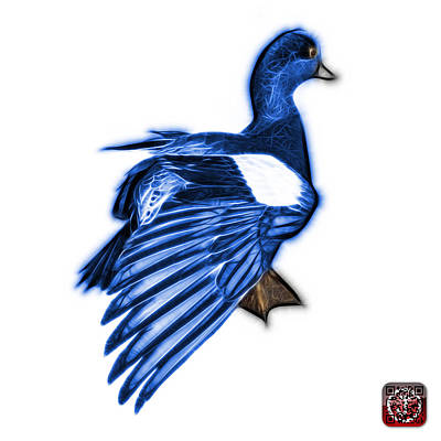 Mixed Media - Blue Fractal Wigeon 7702 - Wb by James Ahn
