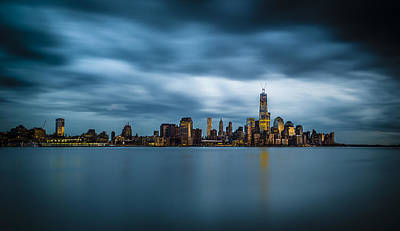 Blue Freedom Tower Art Print by Chris Halford