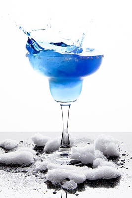 Slushy Photograph - Blue Frozen Iceberg Margarita Splash by Erin Cadigan