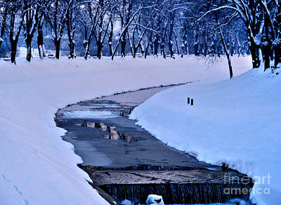 Photograph - Blue Frozen River by Nina Ficur Feenan