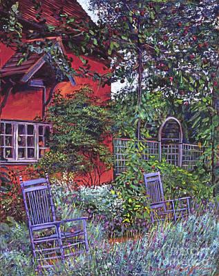 Sun-chair Painting - Blue Garden Chairs by David Lloyd Glover