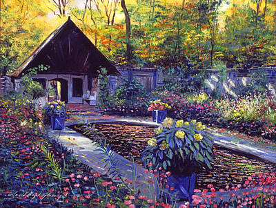 Blue Garden Impression Art Print by David Lloyd Glover