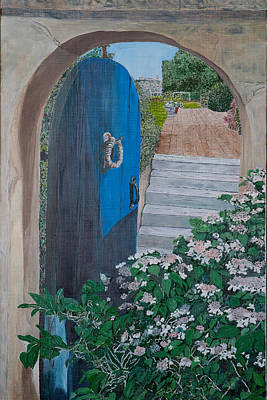Eastern Point Painting - Blue Gate On Eastern Point by Laurence Dahlmer