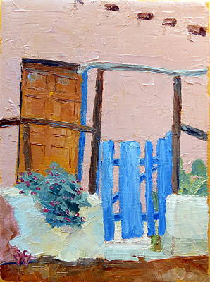 Southwest Gate Painting - Blue Gate by Susan Woodward