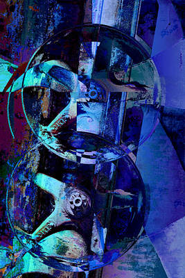 Digital Art - Blue Gears Collage by Ann Powell