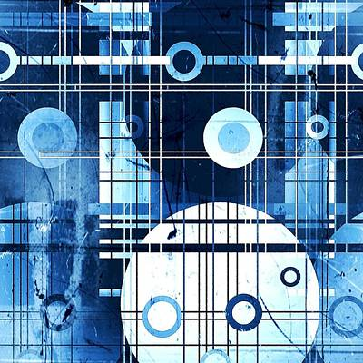 Digital Art - Blue Geometric by Florene Welebny