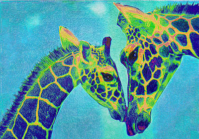 Digital Art - Blue Giraffes by Jane Schnetlage