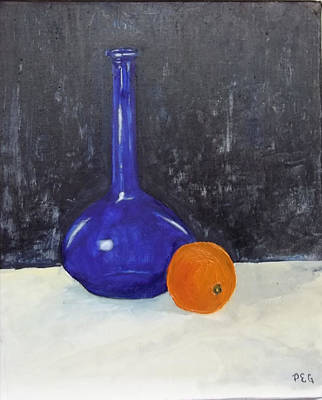 Blue Glass And Orange Art Print by Peter Edward Green