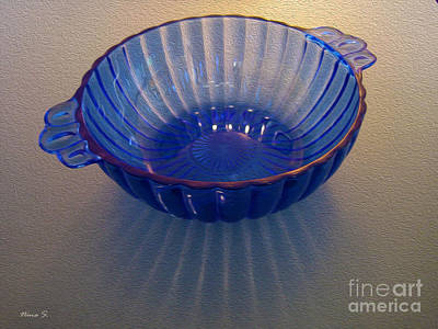 Photograph - Blue Glass Bowl by Nina Silver
