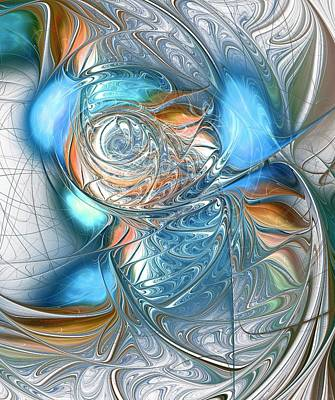 Cheerful Digital Art - Blue Glass Fish by Anastasiya Malakhova