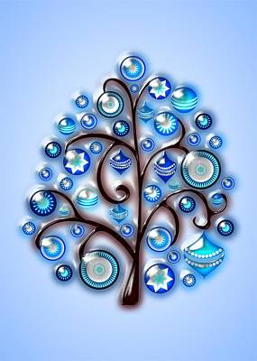 Cute Digital Art - Blue Glass Ornaments by Anastasiya Malakhova