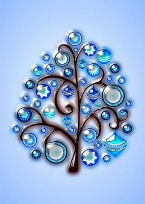 Winter Digital Art - Blue Glass Ornaments by Anastasiya Malakhova