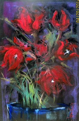Pastel - Blue Glass Red Flowers II by Josie Taglienti