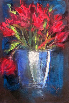 Pastel - Blue Glass Red Flowers by Josie Taglienti