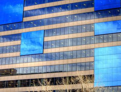 Jerry Sodorff Royalty-Free and Rights-Managed Images - Blue Glass Reflections 4993 by Jerry Sodorff