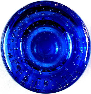 Photograph - Blue Glass With Bubbles by Guy Pettingell
