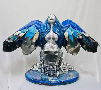 Surfboard Mixed Media - Blue Goddess by Janessa Bookout