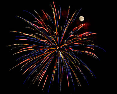 Photograph - Blue Gold Pink And More - Fireworks And Moon by Penny Lisowski