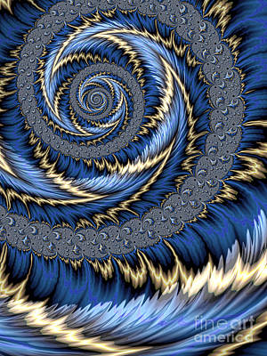 Fantasy Digital Art - Blue Gold Spiral Abstract by John Edwards