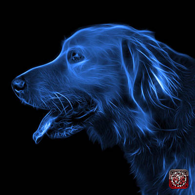 Retrievers Digital Art - Blue Golden Retriever - 4047 F by James Ahn