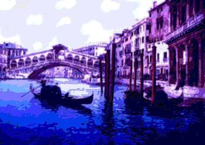 Blue Gondolas Railto Bridge Venice Italy Enhanced   Art Print by L Brown