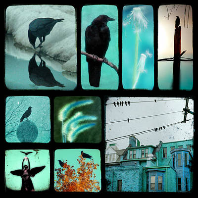 Starlings Digital Art - Blue by Gothicrow Images
