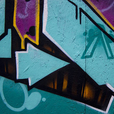 Blue Graffiti Arrow Square Print by Carol Leigh