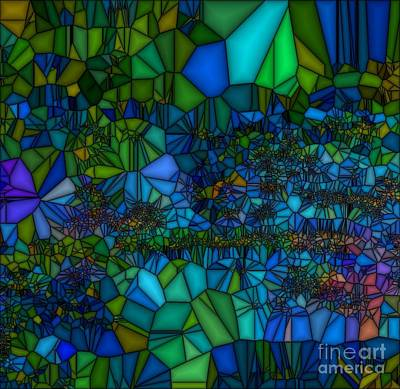 Painting - Blue Green Abstract Glass by Saundra Myles