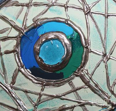 Blue Green And Gold Circle Art Print by Cynthia Snyder