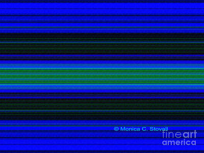 Digital Art - Blue Green Black Hues Color Design Collection by Monica C Stovall