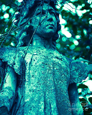 Religious Art Photograph - Blue Green Cemetery by Sonja Quintero
