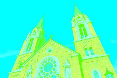 Building Digital Art - Yellow Church by Alexandra Pollett
