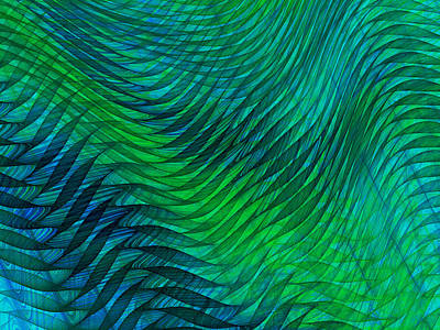 Digital Art - Blue Green Fabric Abstract by Jane McIlroy