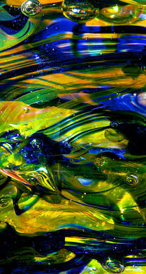 Abstractions Photograph - Blue Green Glass Macro by David Patterson