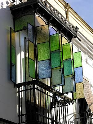 Photograph - Blue-green-gold Windows In Cordoba by Jacqueline M Lewis