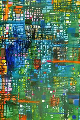 Painting - Blue Green Grid by Regina Valluzzi