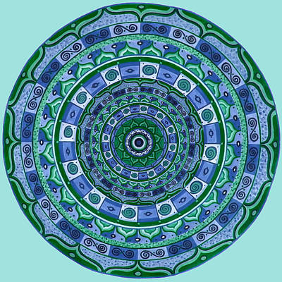Blue Green Mandala Art Print by Vlatka Kelc
