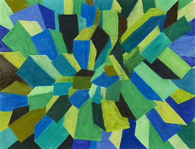 Blue Green Pastel Print by Sean Corcoran
