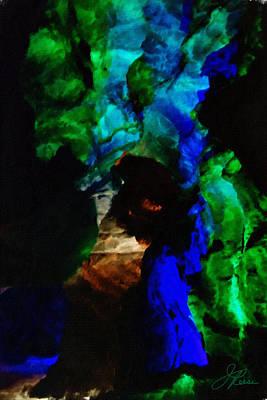 Digital Art - Indigo Green Indian Dancer by Joan Reese