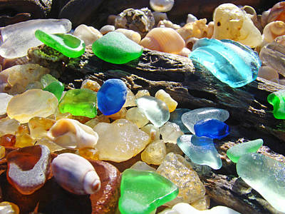 Agate Beach Photograph - Blue Green Seaglass Art Prinst Agates Shells by Baslee Troutman