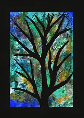 Maple Leaf Art Drawing - Blue Green Splash Maple by Barbara St Jean