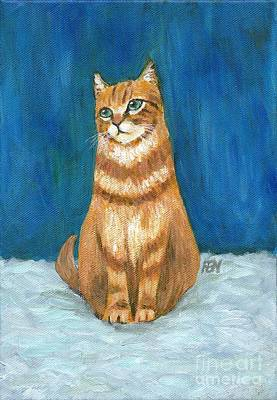 Small Size Painting - Blue Grey And A Ginger Cat  by Jingfen Hwu