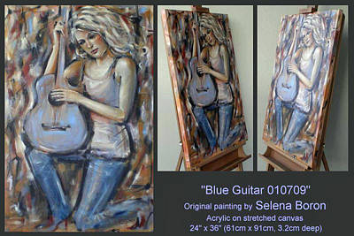 Art Print featuring the painting Blue Guitar 010709 Comp by Selena Boron