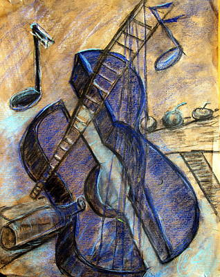 Blue Guitar - About Pablo Picasso Art Print by Errol  Jameson